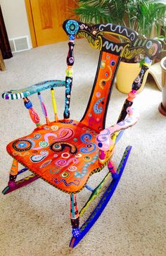 Hand painted whimsical chair. This was a super fun chair to paint :) Love getting funky with Painted Chairs! Dixcie's Painted World