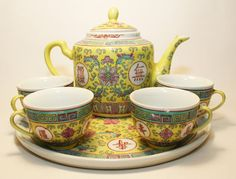 6 Piece 1970 Textured Yellow Chinese Tea Pot Cup Set Made In China Jingdezhen