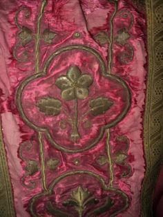 18th Century Metallic Embroidered Vestment Panel Metallic Trim French 1700s Textile Pillows