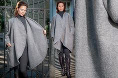 Lange mantelOversized Mantel Mantel aus Wolle Grau von RoteTulpe
