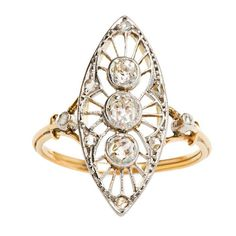 Gold Platinum Edwardian Engagement Ring | From a unique collection of vintage engagement rings at http://www.1stdibs.com/jewelry/rings/engagement-rings/