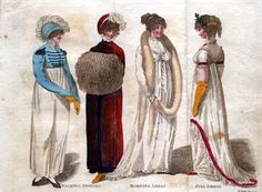 1804 fashion plate, 2nd from the left: bear muff. Also wearing a cashmere pelisse with velvet trim.