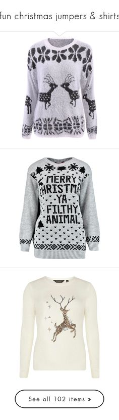 """""""fun christmas jumpers & shirts"""" by nancyrolereversal ❤ liked on Polyvore featuring tops, sweaters, deer christmas sweater, christmas sweaters, long sleeve scoop neck top, deer sweaters, extra long sleeve sweater, christmas, shirts and jumpers"""