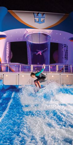 Anthem of the Seas   Adrenaline fuel. Royal Caribbean's Quantum Class cruise ships are an exercise in adventure. Take flight in the unique RipCord by iFly flight simulator, shred some waves on the FlowRider surf simulator, and reach the top of the rock-climbing wall -- and that's just a taste of the top deck.