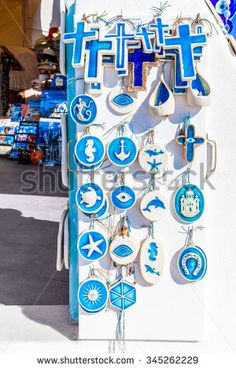 Traditional white blue souvenirs, Santorini island, Greece - stock photo