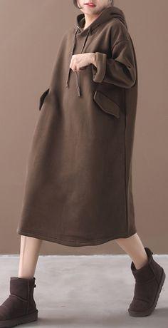 Italian winter cotton hooded tunics for women linen chocolate long Dre – SooLinen Sweater Dress Outfit, Hoodie Dress, Winter Fashion Outfits, Women's Fashion Dresses, Long Linen Dresses, Mode Top, Caftan Dress, Winter Wear, Jacket Style