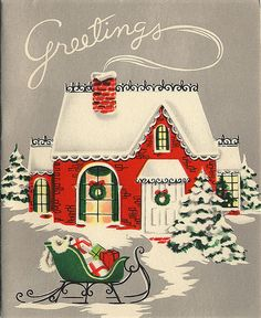 Wishing You an Old~Fashioned December . . .  Vintage Christmas Card . . . . for the Very Best Time of Year