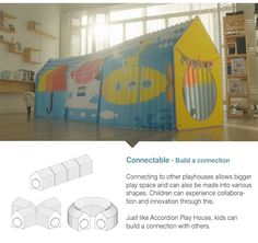 Accordion Play House-a foldable playhouse for small spaces An expandable playhouse that can easily be installed and quickly folded back up for out-of-the-way storage by children.