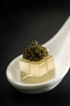"Name: Champagne and Caviar • Description: ""Nicolas Feuillatte Champagne Gelee, American Sturgeon caviar."" — ""Molecular Gastronomy from AnQi Asian Bistro"", Alex Vasilescu Photography (Retrieved: 23 February, 2014)"