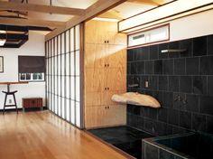 The 580 Sq Ft Hollywood Cabin of Vincent Kartheiser - love the open, sunken shower