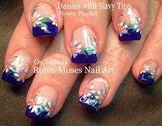 Daisies on Navy! #nailart #nails #nail #art #howto #nailart #Diva #flowers #diy #design #tutorial #daisies #navy #lavender #flower #daisy #flowers #trendy #cute #fun #easy #simple #diy #summer