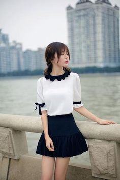 Japanese fashion wave edge short-sleeved shirt Source by addoneclothing fashion Japan Fashion, Kawaii Fashion, Cute Fashion, Girl Fashion, Fashion Dresses, Fashion Looks, Womens Fashion, Fashion Ideas, Skirt Outfits