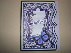 Items similar to Purple Butterfly Get Well Soon Card on Etsy Handmade Greetings, Greeting Cards Handmade, Handmade Gifts, Get Well Soon, Purple Butterfly, Group, Board, Etsy, Decor
