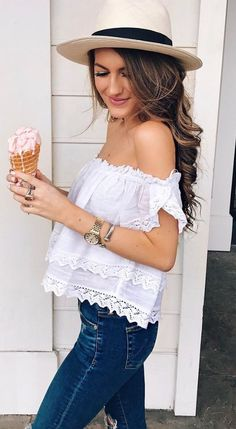 $44 - Nordstrom - Channel your inner Brigitte Bardot in this pretty little cotton gauze off-the-shoulder top trimmed in delicate lace. Brand: RIP CURL. Style Name:Rip Curl Atlas Off The Shoulder Crop Top.
