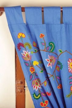 Floral Krewel Embroidered Curtain - Blue