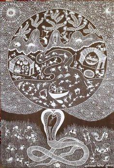 """Warli art """"Le naja soutient le monde"""" 91.00 cm x 63.00 cm (35.83"""" x 24.80"""") PIGMENTS NATURELS ET ACRYLIQUE SUR TOILE  CHF 700.00 Immortelle, Shiva, Cosmic Consciousness, Outsider Art, Personalized Items, Hinduism, Toile, Paint, God"""