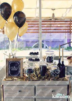 www.kamalion.com.mx - Mesa de Dulces / Candy Bar / Postres / Black & Gold / Negro & Dorado / Candle / Dulces / Bottle / Cupcakes / Macaroons / Oreos / Decoración / Velas.