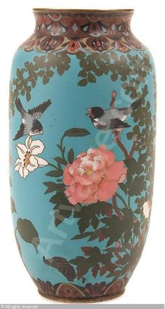 A Fine Japanese Vase. Enamel. 1868-1912. Would love to turn the birds into earrings or a necklace