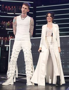 Rapper Machine Gun Kelly and singer Camila Cabello perform onstage at Nickelodeon's 2017 Kids' Choice Awards at USC Galen Center on March 2017 in Los Angeles, California. Get premium, high resolution news photos at Getty Images Mtv Video Music Award, Fifth Harmony 2012, Mgk Lace Up, Machine Gun Kelly, Stage Outfits, Lady And Gentlemen, Rapper, Celebrity Style, Clothes