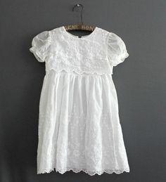 1950s White Dress / Vintage Dress / Flower Girl Dress by modhuman, $32.00