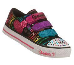 Skechers Triple Time Pre/Grd Shoes (Black/Multi) - Kids' Shoes - M Cute Girl Shoes, Kid Shoes, Girls Shoes, Shoe Boots, Shoes Sneakers, Little Girl Closet, Girls Skechers, Sketchers Shoes, Light Up Shoes