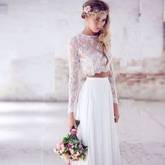 White Vintage Lace Two Piece Prom Dresses 2016 Long Sleeves Party Dresses Elegant Evening Dresses robe de soiree abendkleider