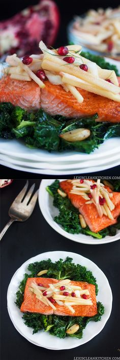 Roasted Salmon with Apple Fennel Salad over Garlicky Kale for the perfect healthy detox meal #whole30 #paleo