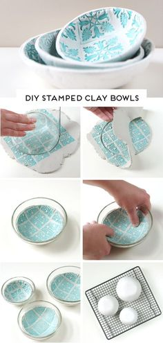 HOW TO MAKE DIY AIR DRY CLAY BOWLS. — Gathering Beauty - - Learn how to make your own beautiful stamped clay bowls using air dry clay. No firing or baking required. You won't believe how easy they are to make. Diy Air Dry Clay, Diy Clay, Crafts With Clay, Air Drying Clay, Air Dry Clay Crafts, Felt Crafts, Diy Crafts, Ceramics Pottery Mugs, Ceramic Pottery