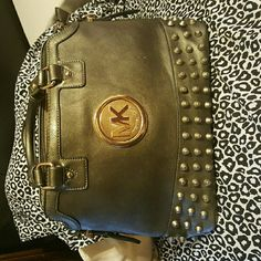 Michael Kors Gray bag Cute Gray bag studded MK copy gold interior show signs of wear exterior overall in good condition Michael Kors Bags Shoulder Bags