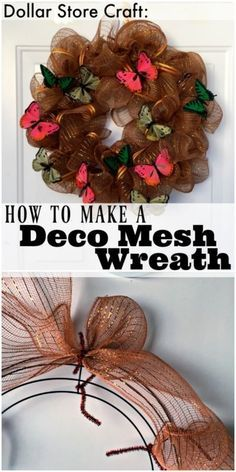 Youve seen those big puffy, ruffly wreaths at craft stores and on peoples doors, and at craft shows, but did you know its possible (and fun) to make your own deco mesh wreath? Deco mesh wreaths are. Deco Mesh Crafts, Wreath Crafts, Diy Wreath, Diy Crafts, Wreath Ideas, Wreath Making, Christmas Mesh Wreaths, Holiday Wreaths, Holiday Crafts