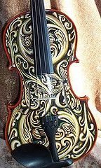 "Painting on these beautiful instruments is intimidating and exhilarating! The violin ""Lady White Snake"" was painted and auctioned off . Violin Art, Violin Music, Musica Celestial, Cool Violins, Electric Violin, Violin Lessons, Guitar Painting, Music Love, Classical Music"