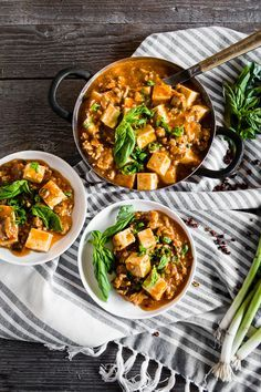 This ground pork mapo tofu is Asian comfort food. Packed full of ground pork, firm tofu, ginger, green onions, hoisin sauce and garlic chile sauce.