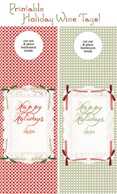Free holiday printable wine bottle tags!