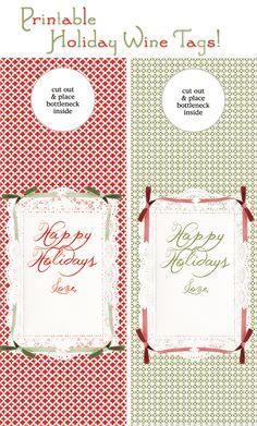 Free printable gift tag for bottle.  DIY Christmas holiday crafting & printables.