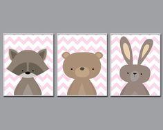 Baby Girl Nusery Art, Woodland Nursery Art, Bear, Suits Pink Nursery Decor 4 Sizes Available-Colors Customizable N1387,1388,1389