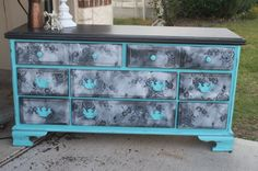 Paris, something like this (with a little darker turquoise)would look awesome in your room! Turquoise Lace Dresser