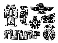 Conjunto de Azteca Maya tatuajes temporales por WildLifeDream
