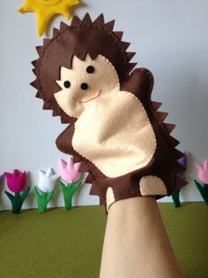 Hedgehog hand puppet  - children toy, theatre  - by FeltforAdults on Etsy