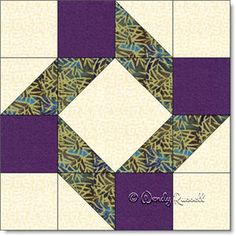 Roll of the Dice quilt block featuring half square triangles and square in a square patches