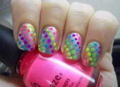 Neon polka dot nail design Fingernail Designs, Nail Polish Designs, Cute Nail Designs, Great Nails, Love Nails, Amazing Nails, Polka Dot Nails, Polka Dots, Haar Make-up
