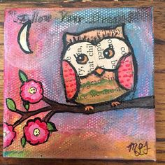 I Love OWLS Original Acrylic Mixed Media 2x2 inch mini painting  on canvas with easel