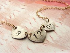 Wedding date necklace - pretty gift idea.