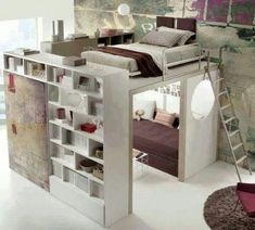 Bedroom Design Ideas For Couples and Bedroom Decor Ideas For Small Rooms. Bedroom Loft, Dream Bedroom, Diy Bedroom, Bedroom Bookshelf, Master Bedroom, Bookshelf Ladder, Design Bedroom, Bedroom Storage, Warm Bedroom