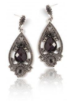 Black Earrings | Black Drop Earrings | Black Ornate Earrings