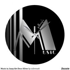 Music in Jazzy Art Deco Silver & Black Clock - The Art Deco and the rise in popularity of jazz occurred at approximately the same time. Jazz and night clubs were often decorated in the style, and it's a natural pairing for the musical, Deco-style clock. Personalize it however you wish, or delete the placeholder text if you wish. #music #jazz #deco