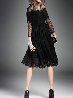 Black Polyester Pierced Long Sleeve Midi Dress