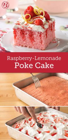 Raspberry-Lemonade Cake Betty created the poke cake, a cake that's poked after baking so the topping forms pockets of wonderfulness. Try this delicious citrus-raspberry combo for your next get-together! Poke Cakes, Poke Cake Recipes, Dessert Recipes, Summer Desserts, Easy Desserts, Delicious Desserts, Cupcakes, Cupcake Cakes, Bolo Ferrero Rocher