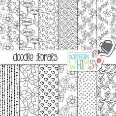Black and White Floral Digital Paper - Hand drawn doodle flower seamless patterns - floral scrapbook paper - printable paper -commercial use