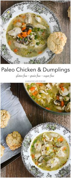 Paleo Chicken and Dumplings is a hearty one pot dinner that will satisfy the whole family Gluten Free Dairy Free Whole30 recipe | ahealthylifeforme...