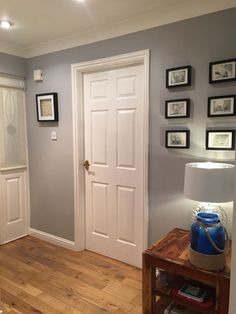 Dulux Chic Shadow is absolutely beautiful. I spent awhile trying to decide on a . , Dulux Chic Shadow is absolutely beautiful. I spent awhile trying to decide on a perfect grey for my hall and this certainly is perfect. Hallway Colours, Room Colors, House Colors, Wall Colours, Dulux Paint Colours Hallways, Dulux Paint Colours Grey, Hallway Colour Schemes, Grey Hallway Paint, Dulux Bedroom Colours